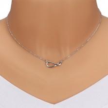 925 ezüst nyaklánc - csillogó lánc, végtelen szimbólum gyémántokkal