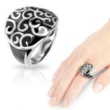 Acél gyűrű, ónix felület