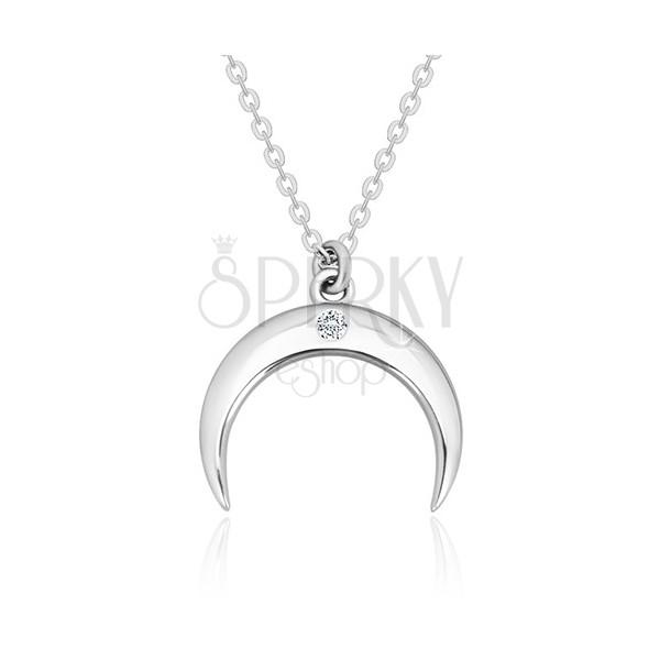 Brilliáns nyaklánc, 925 ezüst -  fordított félhold átlátszó gyémánttal