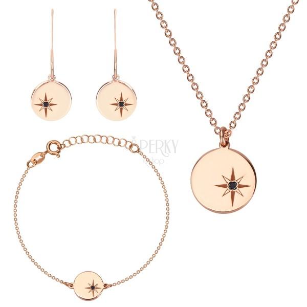 925 ezüst rózsaszín árnyalatú hármas szett - fülbevaló, nyaklánc és karkötő, kör ,Sarkcsillag gyémánttal
