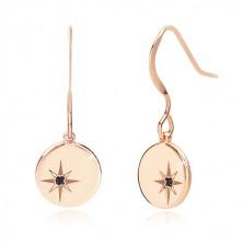 925 ezüst fülbevaló, rózsaszín árnyalat - fényes kör, Sarkcsillag, fekete gyémánttal