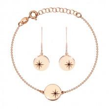 925 ezüst szett - karkötő és fülbevaló , rózsaszín árnyalat,kör, Sarkcsillaggal, gyémánttal