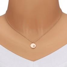 925 ezüst rózsaszín árnyalatú nyaklánc - fényes kör, Sarkcsillag, fekete gyémánt