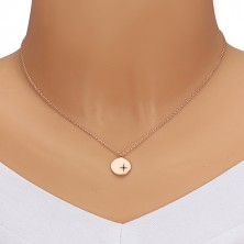 925 ezüst rózsaszín árnyalatú szett - fülbevaló és nyaklánc, kör ,Sarkcsillag gyémánttal