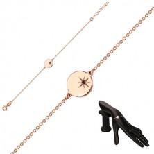 925 ezüst rózsaszín árnyalatú karkötő - fényes kör, Sarkcsillag, fekete gyémánt