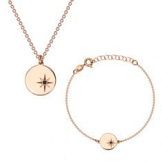 925 ezüst szett - karkötő és nyaklánc, rózsaszín árnyalat, kör, Sarkcsillaggal, gyémánttal