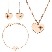 925 ezüst rózsaszín árnyalatú hármas szett - fülbevaló, nyaklánc és karkötő, szív ,Sarkcsillag gyémánttal