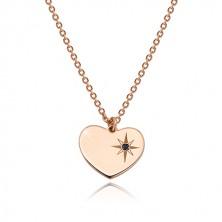 925 ezüst rózsaszín árnyalatú szett - karkötő és nyaklánc, szív ,Sarkcsillag gyémánttal