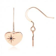 Fekete gyémánt - 925 ezüst fülbevaló, rózsaszín-arany szimmetrikus szív, Sarkcsillag