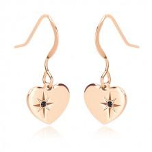 925 ezüst fülbevaló, rózsaszín árnyalat - szimmetrikus szív, Sarkcsillag, fekete gyémánttal