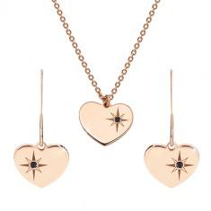925 ezüst rózsaszín árnyalatú szett - fülbevaló és nyaklánc, szív ,Sarkcsillag gyémánttal