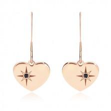 925 ezüst szett - karkötő és fülbevaló , rózsaszín árnyalat,szívecske Sarkcsillaggal, gyémánttal