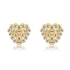 9K sárga arany fülbevaló - átlátszó cirkóniák, szív és szív körvonal