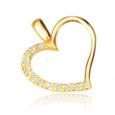 14K sárga arany medál - szabálytalan szív, fényes cirkónia sávval