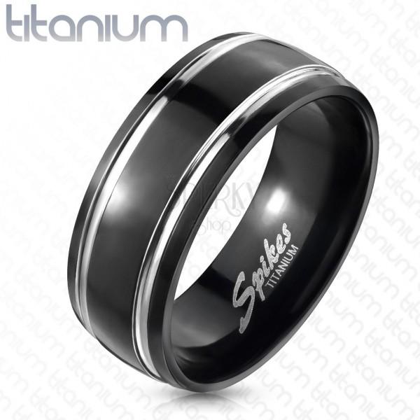Titánium gyűrű, fekete, két vonal