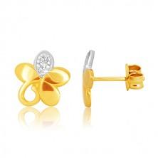 Kétszínű 9K arany fülbevaló - ötszirmú virág, spirállal és cirkóniával