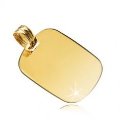 14K sárga arany medál - tükörfényes lekerekített téglalap