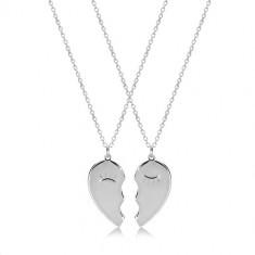925 ezüst szett - páros nyakék, kettétört szív lehunyt szemmel