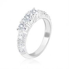 925 ezüst eljegyzési gyűrű - három ragyogó cirkónia, kisebb cirkóniákból álló sávval