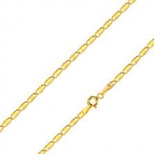 14K sárga arany nyaklánc - ovális láncszem bevéséssel és téglalappal, 500 mm