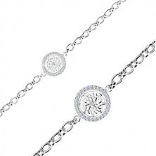 925 ezüst karkötő - kör díszesen metszett virággal és cirkóniákkal