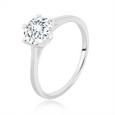 925 ezüst eljegyzési gyűrű - keskeny sín, háromszögek és cirkónia, 7 mm