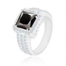925 ezüst gyűrű - fekete négyzet alakú cirkónia, kristálytiszta cirkónia szegély és sín
