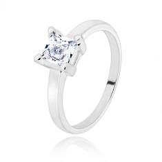 925 ezüst gyűrű - keskeny sín, áttetsző négyzet alakú cirkónia, 5 mm