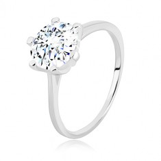 925 ezüst gyűrű - keskeny sín, háromszögek és áttetsző cirkónia, 8 mm