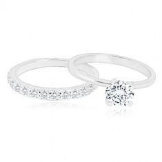 Ezüst gyűrű szett - karikagyűrű fényes félkörívvel, gyűrű cirkonkővel