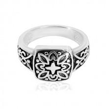 925 ezüst gyűrű - díszes négyzet vésett mintával és patinával