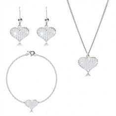 925 ezüst szett - szabályos szív cirkóniákkal, ovális szemű lánc