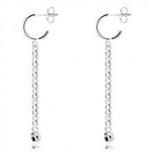 925 ezüst fülbevaló - csillogó nyitott karika, fényes lánc, fekete cirkónia foglalatban