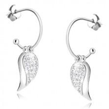 925 ezüst fülbevaló - csillogó szárny cirkóniával és tükörfényes szárny