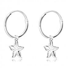 925 ezüst fülbevaló - keskeny karika, tengeri csillag apró pöttyökkel
