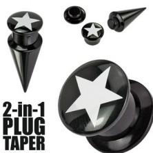 Fekete plug és taper - fehér ötágú csillag