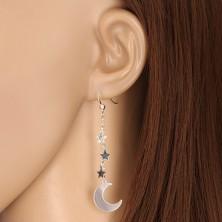 925 ezüst fülbevaló - holdsarló három csillaggal, láncon, akasztós