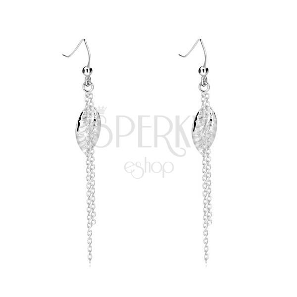 925 ezüst fülbevaló - díszes levél, két lánc, akasztós