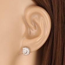 Bedugós 925 ezüst fülbevaló - széles félkör fűrészfog széllel, cirkóniával