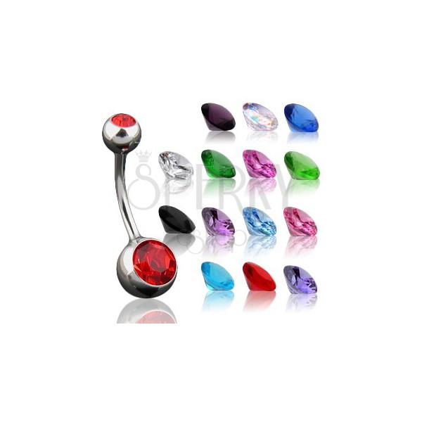 Piercing köldökbe - kis és nagy cirkónia, többféle színben