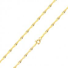 585 sárga arany nyaklánc - fényes ovális láncszemek, spirális alakban, 420 mm