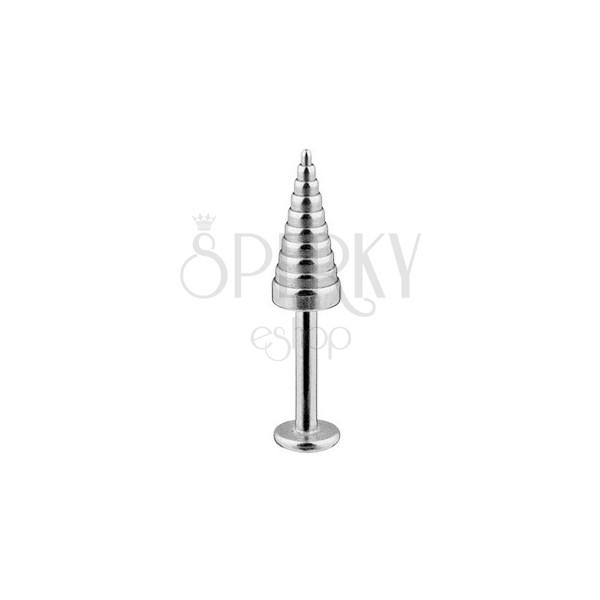 Sebészeti acél áll és ajak piercing, bordázott kúp 1,6 mm