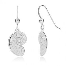 925 ezüst fülbevaló - csavart fényes kagyló, afrikai horog