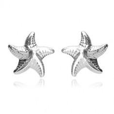 925 ezüst fülbevaló - fényes tengeri csillag öt karral és bemetszésekkel, bedugós fülbevaló