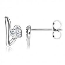 925 ezüst fülbevaló - Love motívum, szív és betű cirkóniákkal, bedugós fülbevaló