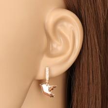 925 ezüst fülbevaló réz színben - két medál madár motívummal, cirkóniás vonal