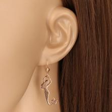 925 ezüst fülbevaló - réz színű - sellő és egy golyó, fényes felület, afrikai horog