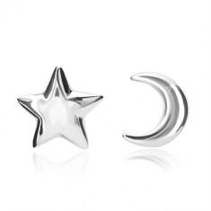 925 ezüst fülbevaló - hold és csillag motívum, stekkeres zárszerkezet