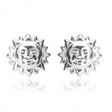 925 ezüst fülbevaló - mosolygó nap kivágott napsugarakkal, bedugós fülbevaló