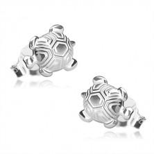925 ezüst fülbevaló - fényes teknős metszett páncéllal, bedugós fülbevaló